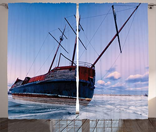 Ambesonne Shipwreck Curtains, Bent Ship Wreck with a Mast in Ice Snow Frozen Lake in Cold Winter Season Picture, Living Room Bedroom Window Drapes 2 Panel Set, 108 X 84 , Blue Red