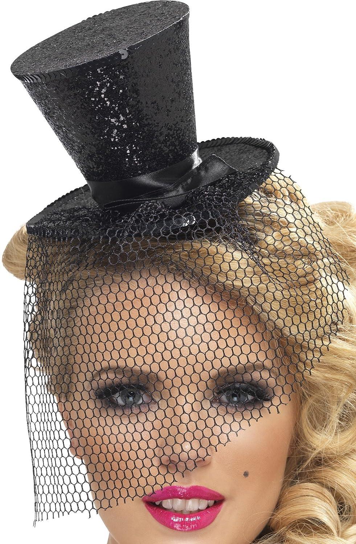 Women's Sexy Mini Black Glitter Fascinator Top Hat - DeluxeAdultCostumes.com