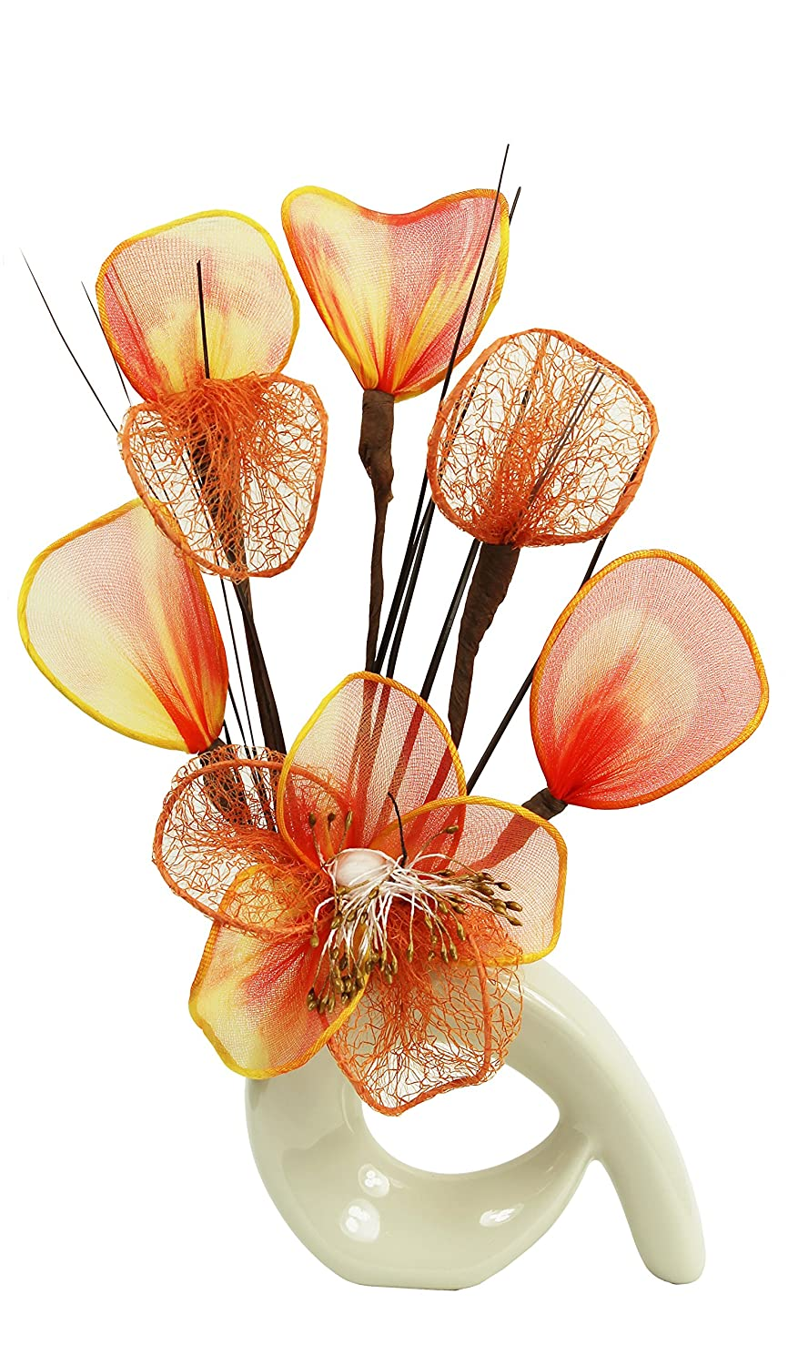 Cream Vase with Orange Artificial Flowers, Home Accessories, Ornaments for Living Room, Window Sill, 32cm Flourish 792916