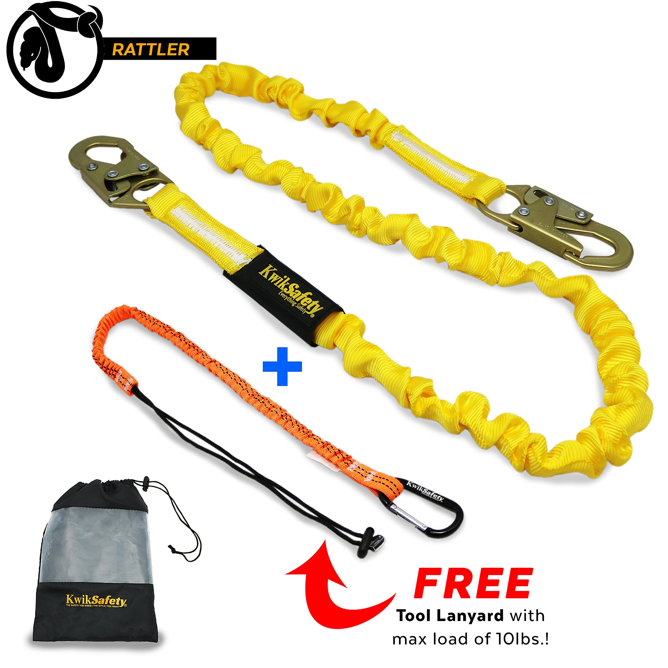 KwikSafety RATTLER | 6ft Tubular Safety Lanyard | 310 lb Capacity | ANSI & OSHA Single Leg Non Stretch Shock Absorbing Lanyard & Snap Hooks with Tool Lanyard 10lbs Max | Fall Protection Equipment by KwikSafety