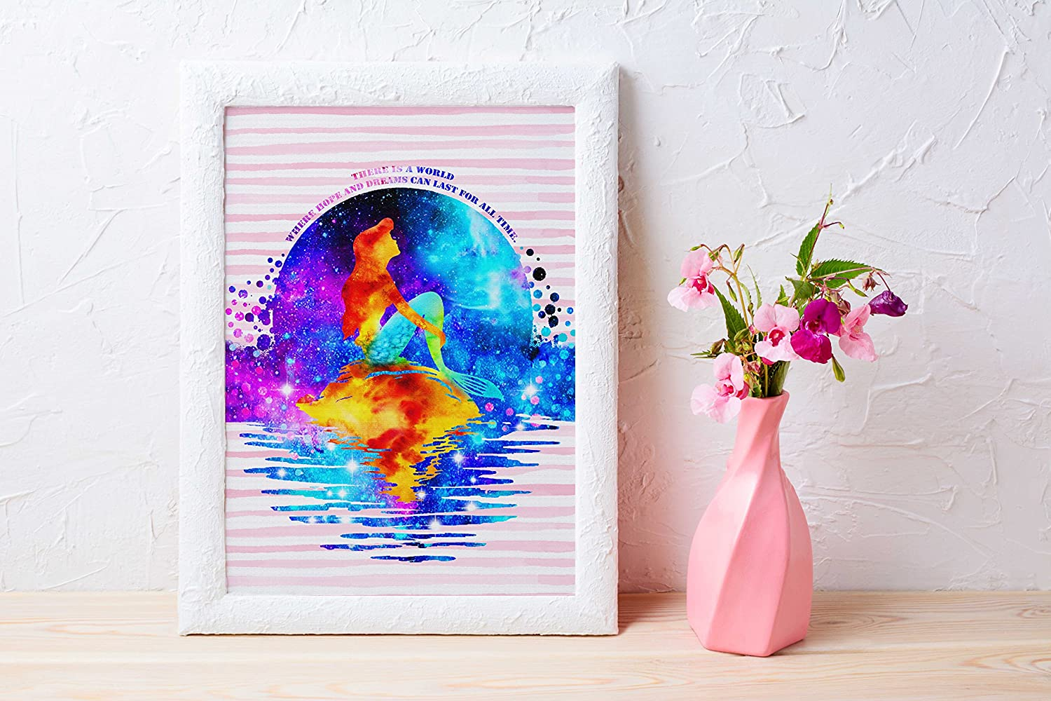 Uhomate Princess Ariel The Little Mermaid Home Canvas Prints Wall Art Anniversary Gifts Baby Gift Inspirational Quotes Wall Decor Living Room Bedroom Bathroom Artwork C033 13X19