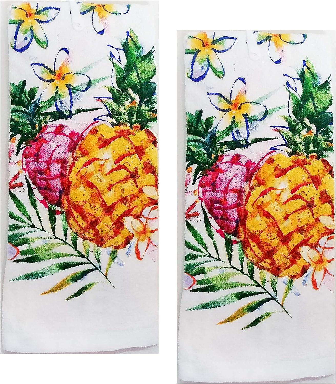 2 pc Plush Bathroom//Kitchen Hand Towel Pineappleand Flowers