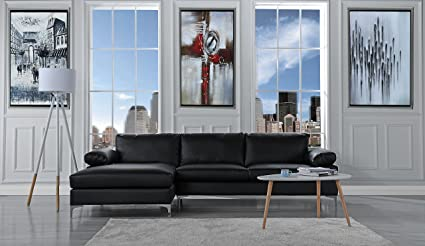 Modern Large Faux Leather Sectional Sofa, L Shape Couch With Extra Wide  Chaise Lounge