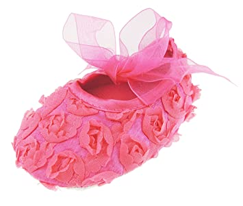 Baby Girls Floral Rose Covered Shoe Bow 0-9 Months (0-3 Months 9cm, Fuchsia  Ribbon)  Amazon.co.uk  Baby 7661dd4303c