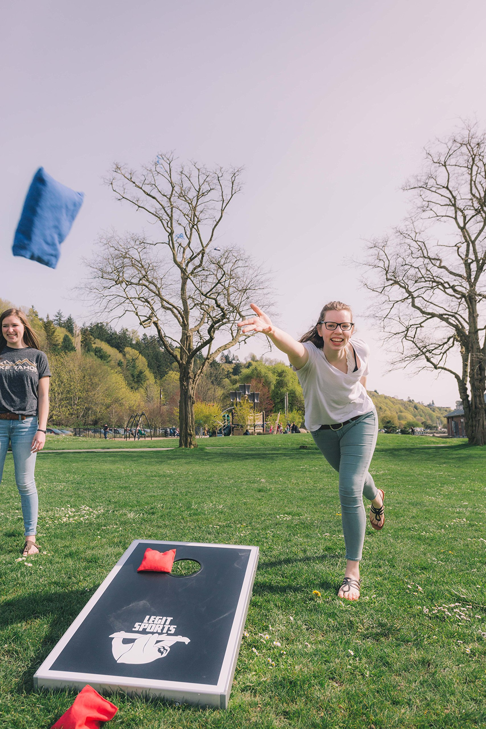 Cornhole Boards with Aluminum Frame by Legit Sports | Bean Bag Toss Corn Hole Outdoor Game with Weighted Bean Bags | Lightweight and Durable Materials | Great for Travel, Camping, Parties by Legit Camping (Image #3)