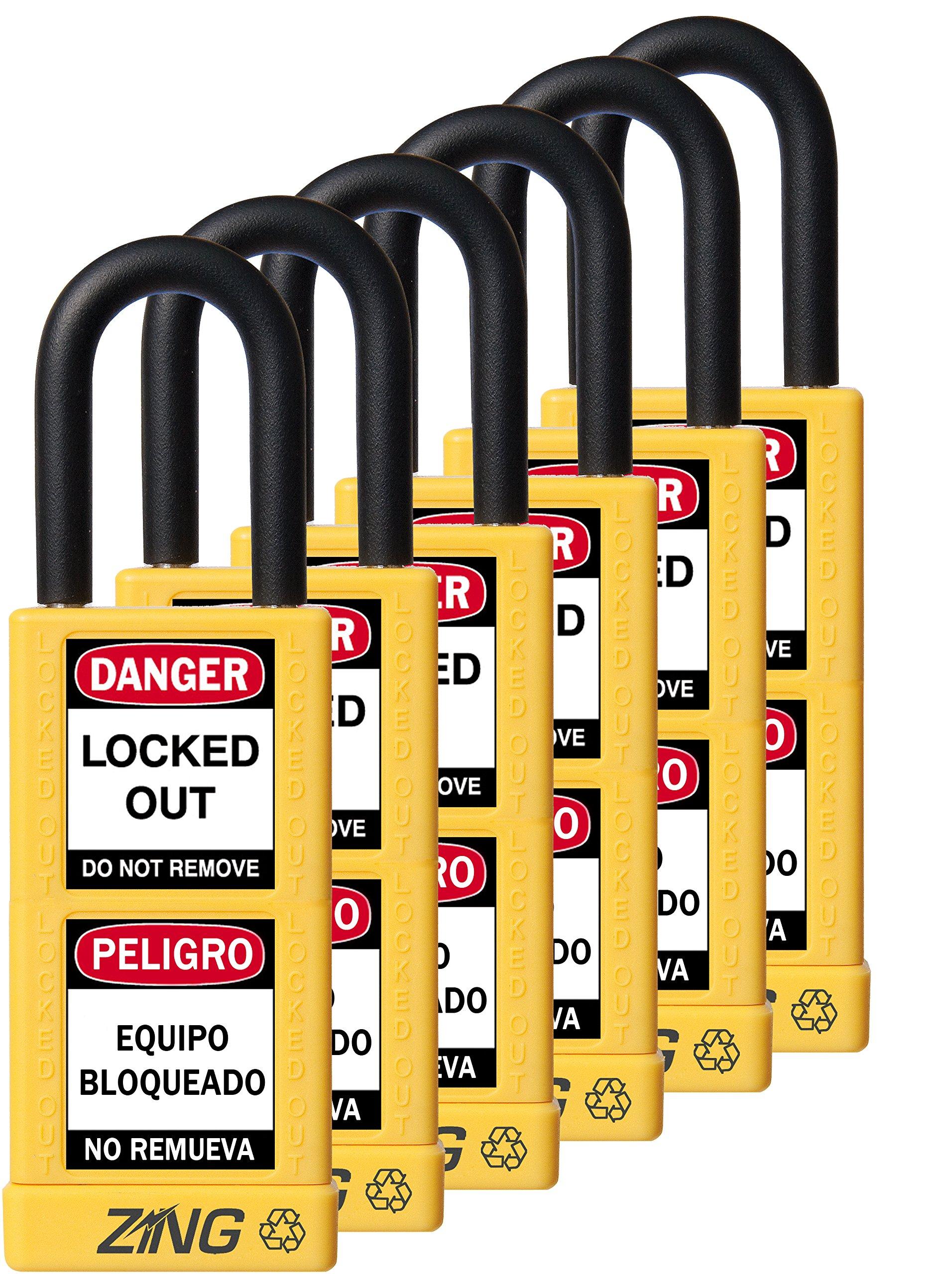 ZING 7093 RecycLock Safety Padlock, Keyed Alike,1-1/2'' Shackle, 3'' Long Body, Yellow, 6 Pack
