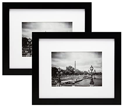 Amazon.com - 2 Pack 8x10 Black Picture Frames with 5x7 Inch Mat ...