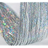 47 Inch Hair Tinsel 600 Silver Sparkling Highlights Synthetic Hair Streak BlingHighlights Glitter Extensions