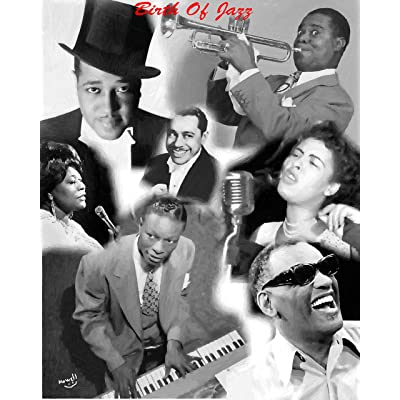 11 x 14 Inch Puzzle African-American Legends of Jazz at King Cole Duke Ellington Louis Armstrong Writes Riles Oil Painting in Black and White: Toys & Games