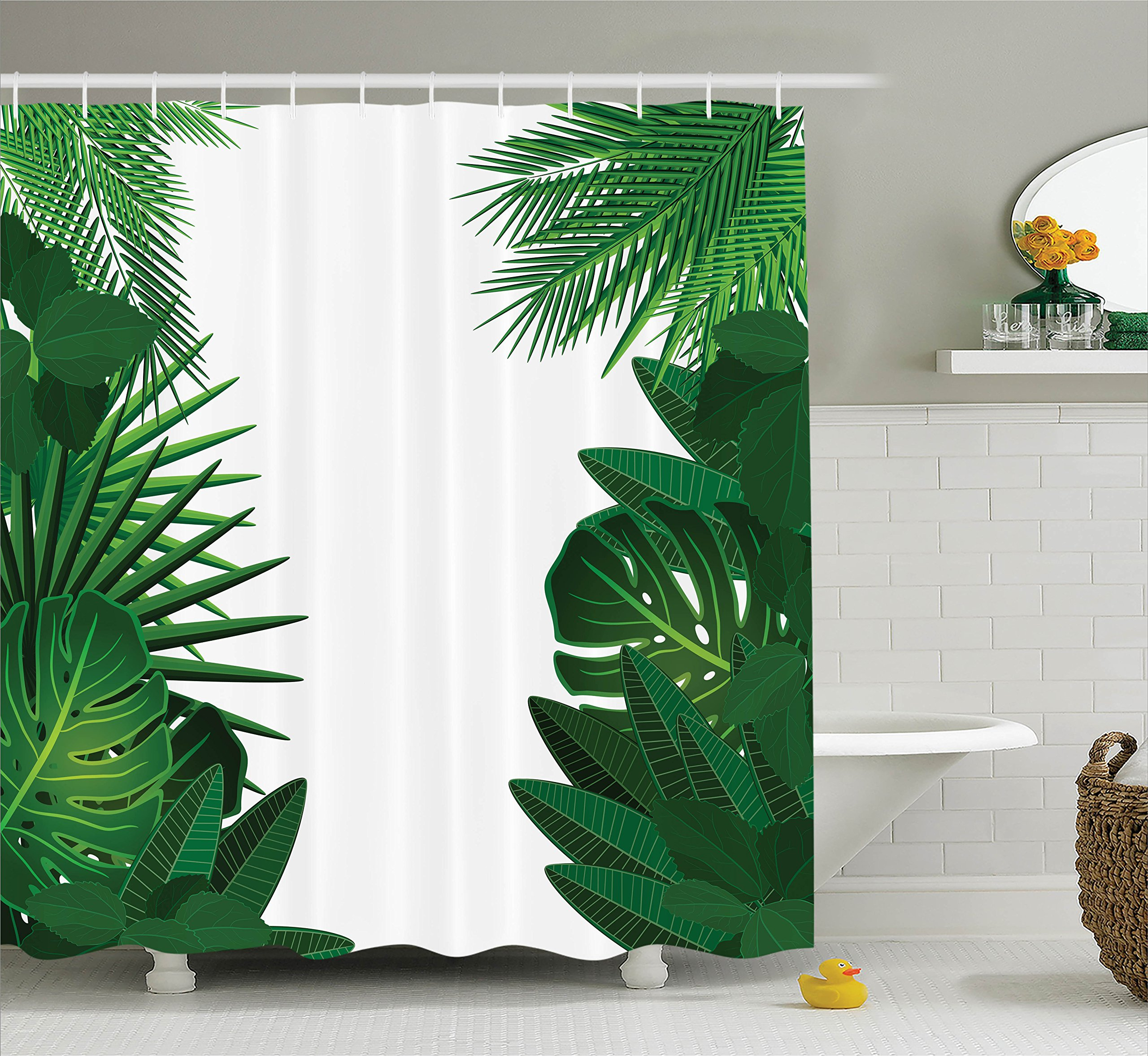 Ambesonne Leaves Decor Shower Curtain Set, Exotic Fantasy Hawaiian Tropical Palm Leaves with Stylish Floral Graphic Illustrated Art, Bathroom Accessories, 69W X 70L inches, Green White
