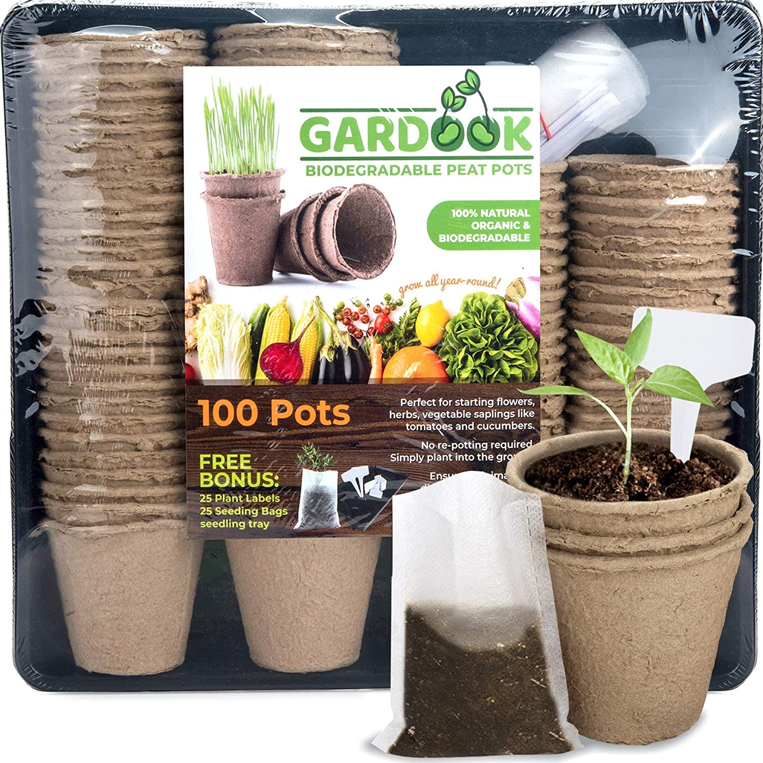 GARDOOK Seed Starter Kit with 100 Peat Pots for Seedlings Seed Starter Tray Plastic Growing Trays 25 Seed Bags and 25 Plant Labels Outdoor or Indoor Herb Garden Nursery Biodegradab
