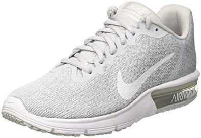 the latest 5844d 93d57 Image Unavailable. Image not available for. Color  Nike Air Max Sequent 2  Pure Platinum White Wolf Grey Women s Running Shoes Size