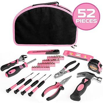 Juego de herramientas de 52 piezas, color rosa, kit de ...