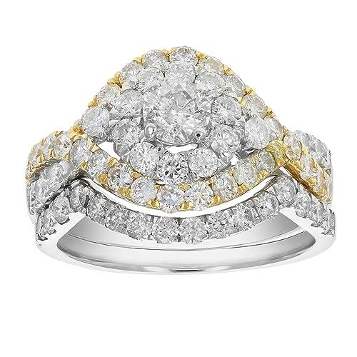 Amazon.com: 2 quilates diamante boda conjunto de anillo de ...