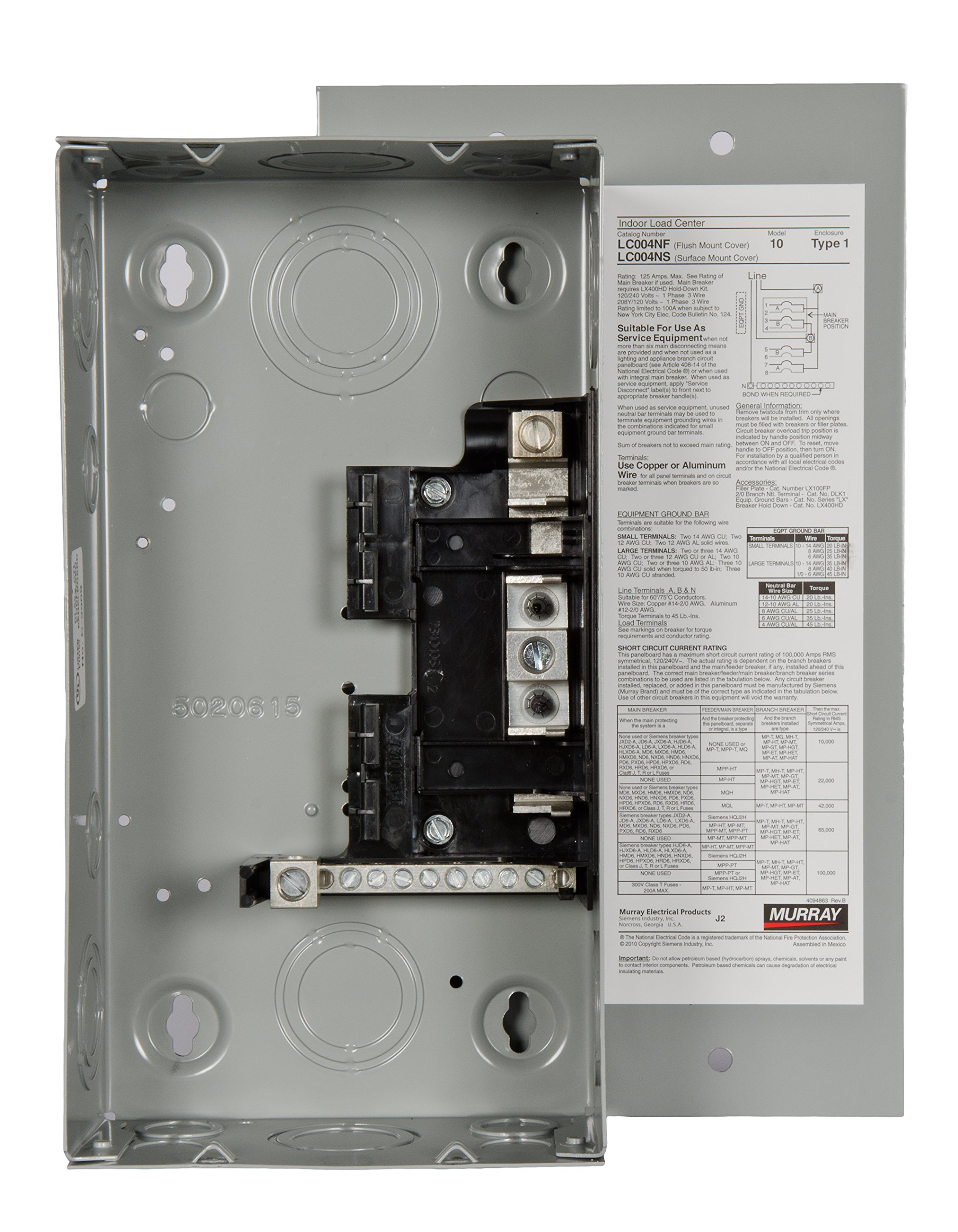 Murray LC004NFU Load Center, 4 Space, 8 Circuit, 125A, Main Lug, Surface mount