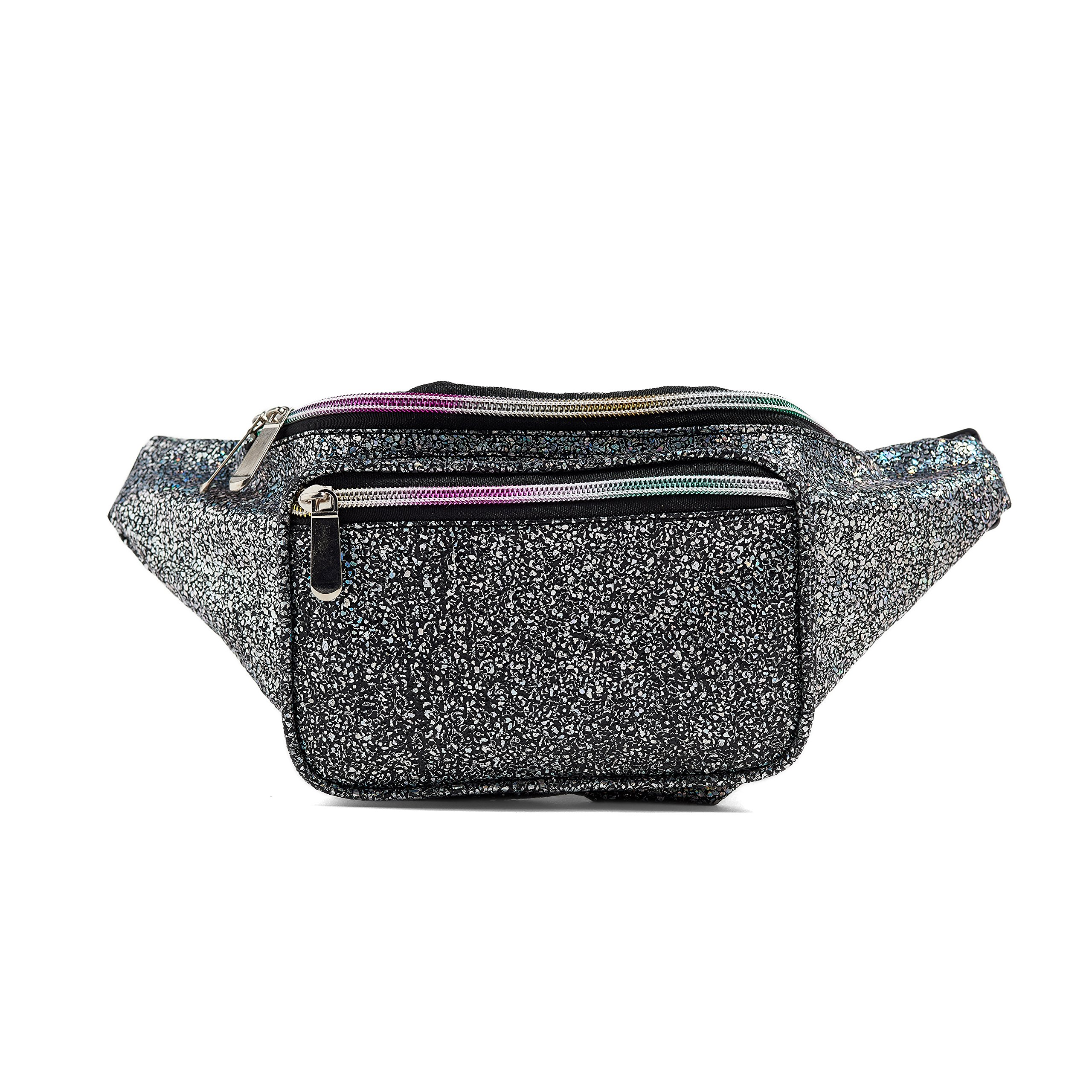 C.T.Soarsky Water Resistant Fanny Bag for Women Rave Festival Hologram Waist Pack Black Gravel