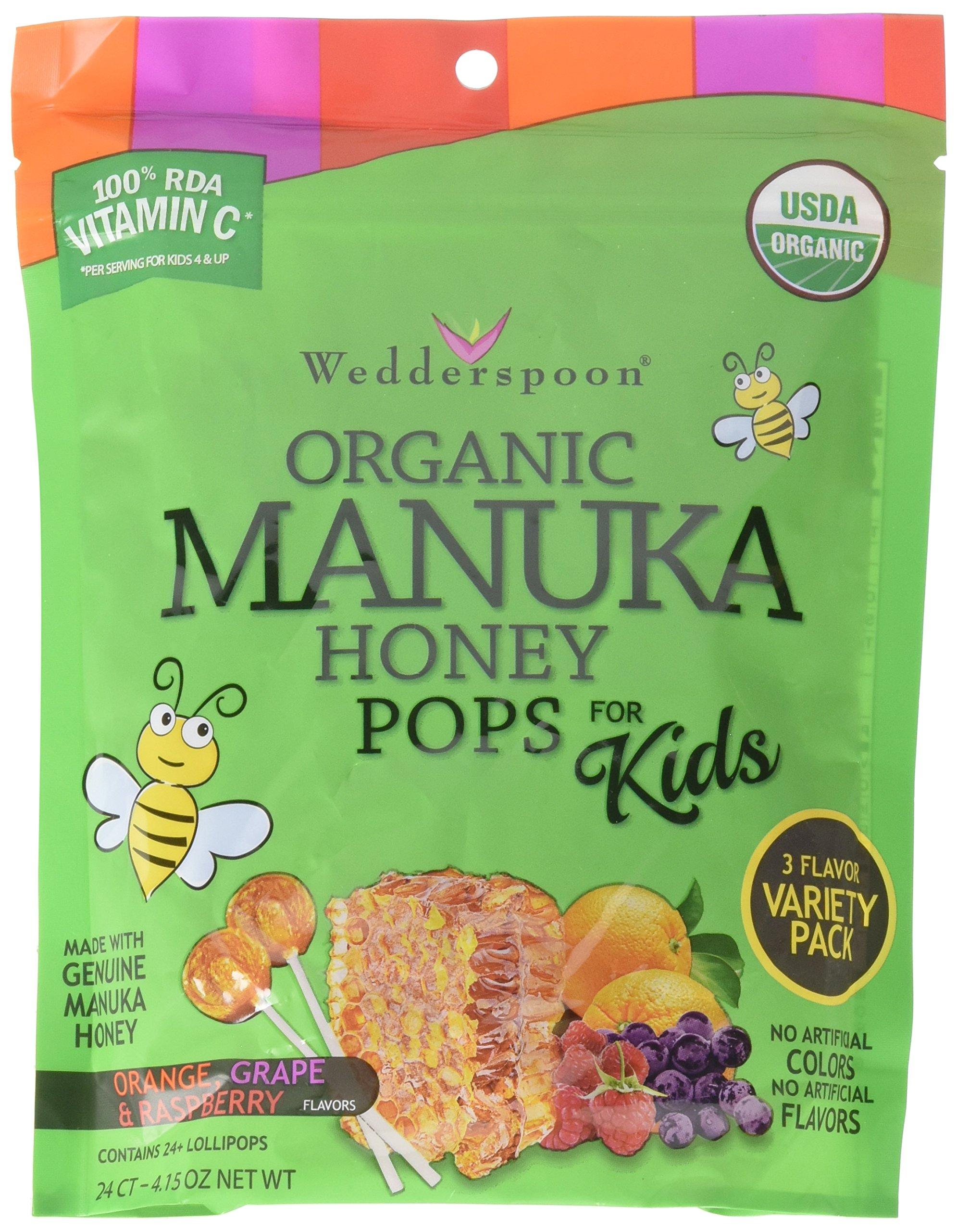 Wedderspoon Organic Manuka Honey Pops for Kids, Variety Pack, 24 count
