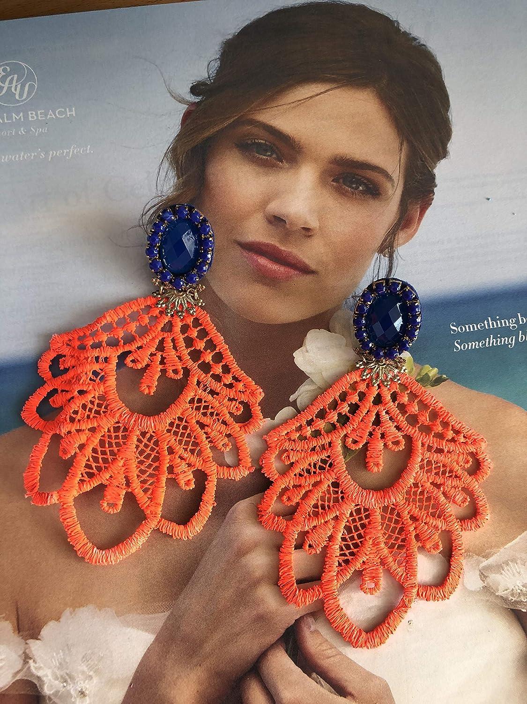36bcbbc9f Orange Dangle Earrings, Spring Earrings, Chandelier Earrings, Big Earrings,  Fashion Accessories, Handmade Earrings, Statement Earrings, Fashion Earrings,  ...