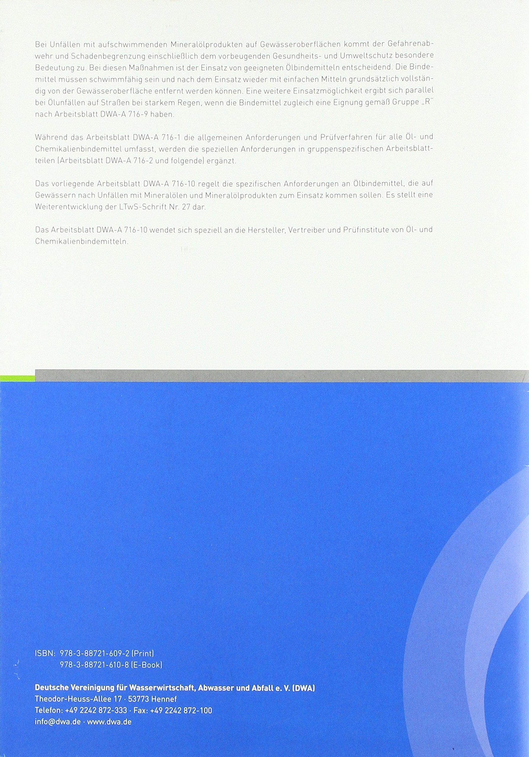 Arbeitsblatt DWA-A 716-10 Öl- und Chemikalienbindemittel ...