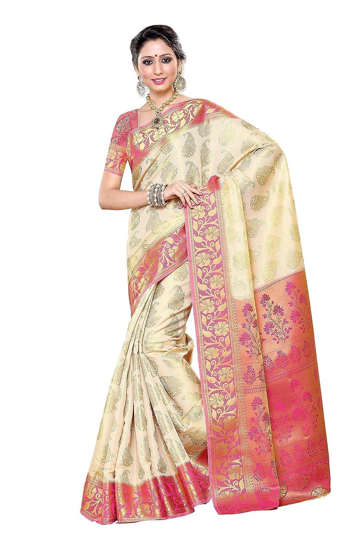 mimosa silk saree 197 hw rani off white amazon in clothing