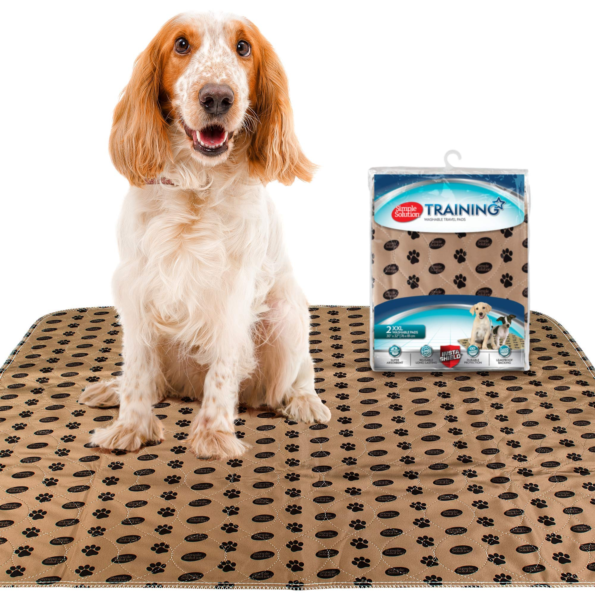 Simple Solution Large Washable Puppy Pad | Reusable Dog Pee Pad | Absorbent and Odor Controlling | 30x32 Inches, 2 Count by Simple Solution