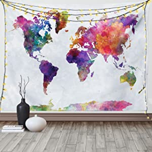 Ambesonne Watercolor Tapestry, Multicolored Hand Drawn World Map Asia Europe Africa America Geography Print, Fabric Wall Hanging Decor for Bedroom Living Room Dorm, 90