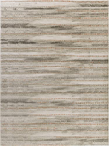 Mariko Light Gray and orange Modern Area Rug 7 6 x 10 6