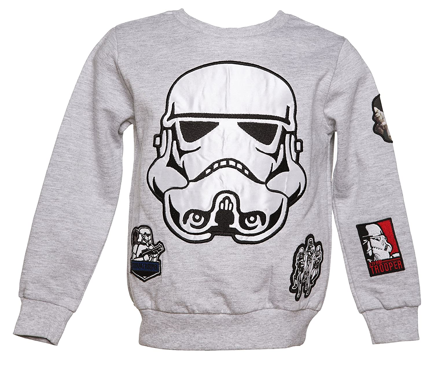 Kids Grey Marl Star Wars Stormtrooper Applique Badges Sweater from Fabric Flavou