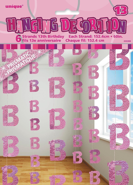 Unique Party- Paquete de 6 Decoraciones cumpleaños, Color rosa, edad 13 (55366)
