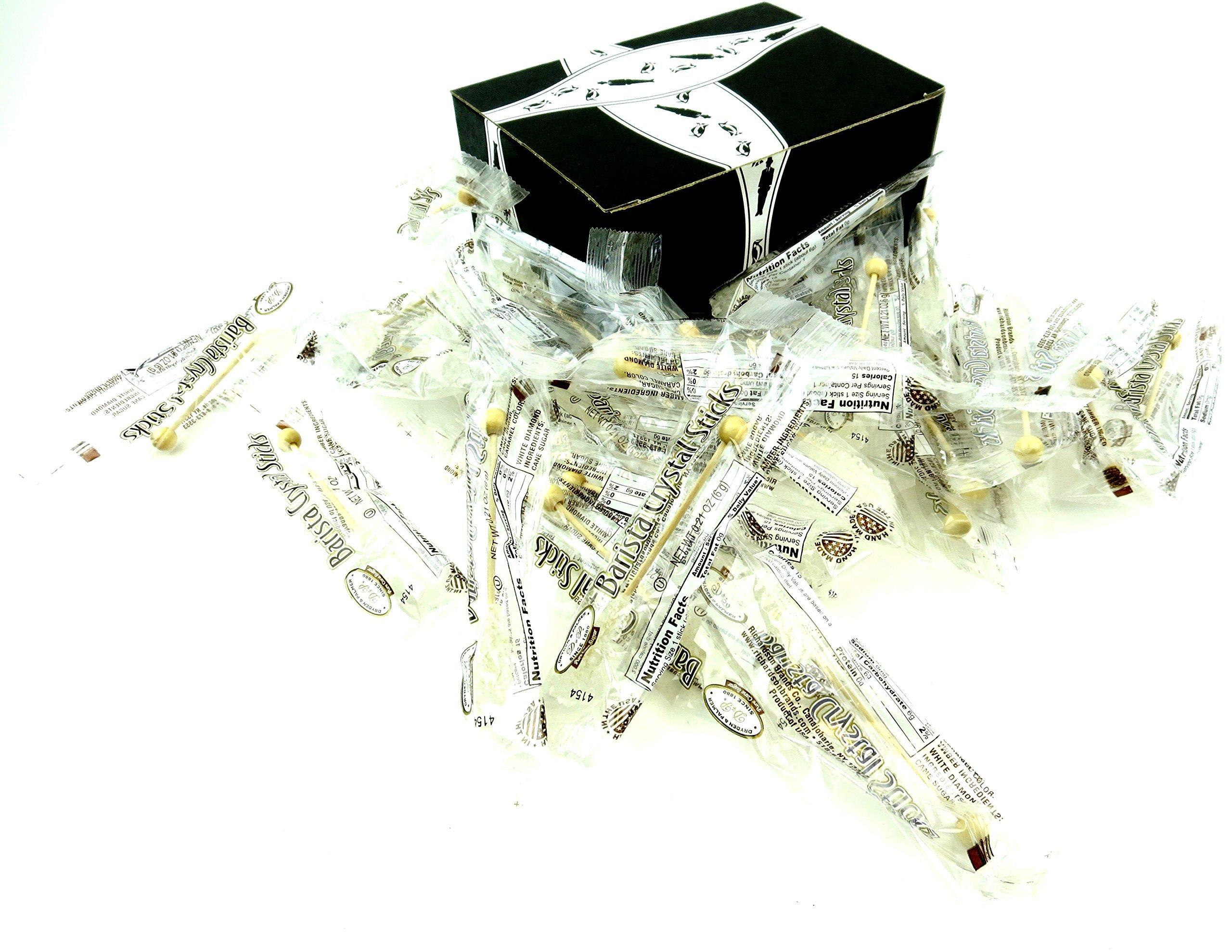 Dryden & Palmer White Rock Candy Barista Sticks, 4.5 Inch Demitasse Sticks in a BlackTie Box (Pack of 28)