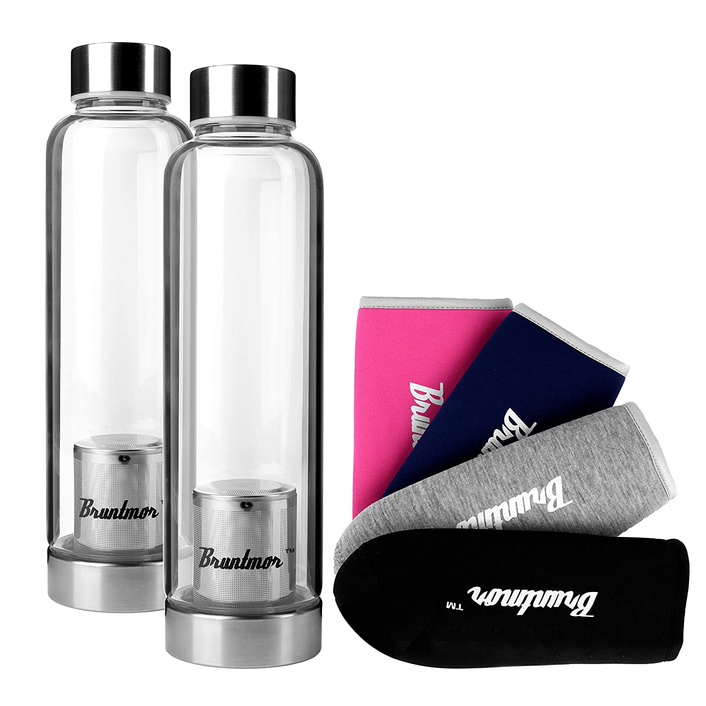 Bruntmor, Set of 2 Borosilicate Glass Water Infuser Bottle 17oz, With 4 Sleeves & Cleaning Brush by Bruntmor B014V38FNA