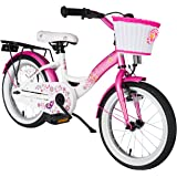 BIKESTAR® Premium Kids Bike ★ For safe and carefree joy of playing kids aged from 4 years ★ 16s Classic Edition ★ Flamingo Pink & Diamond White