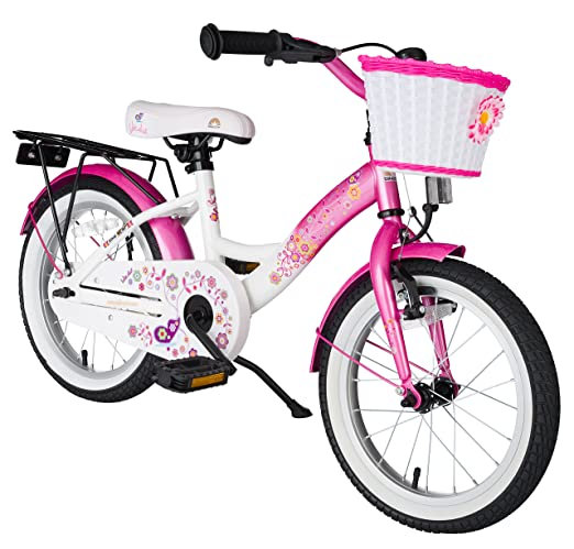 814308b119c This classically-styled pink and white bike for girls features a sporty  German design along with impact-resistant metallic paint.
