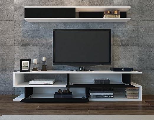 LaModaHome - Unidad de Soporte para TV, Color Blanco y Negro, Elegante Diseño de Parte, Almacenamiento Multifunción, Organiza la Decoración del hogar, Mueble para el hogar, Oficina, Sala de Estar: Amazon.es: Hogar