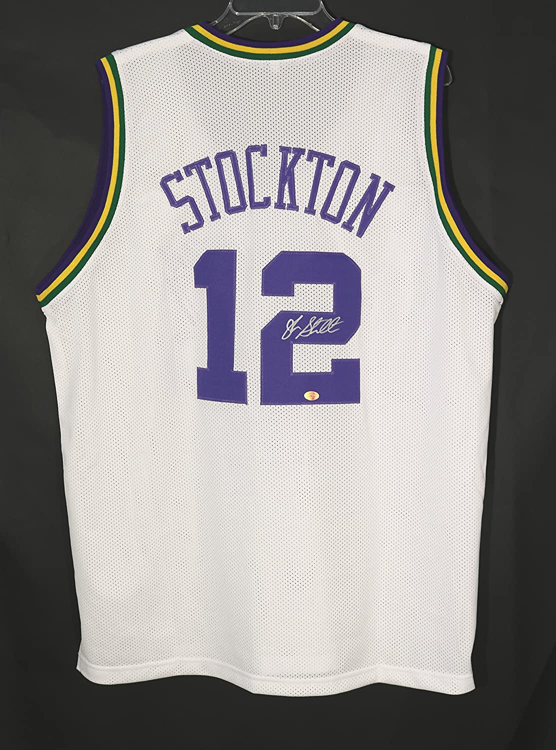 ... John Stockton Utah Jazz Signed Autographed White 12 Custom Jersey at  Amazons Sports Collectibles Store ... acf408479