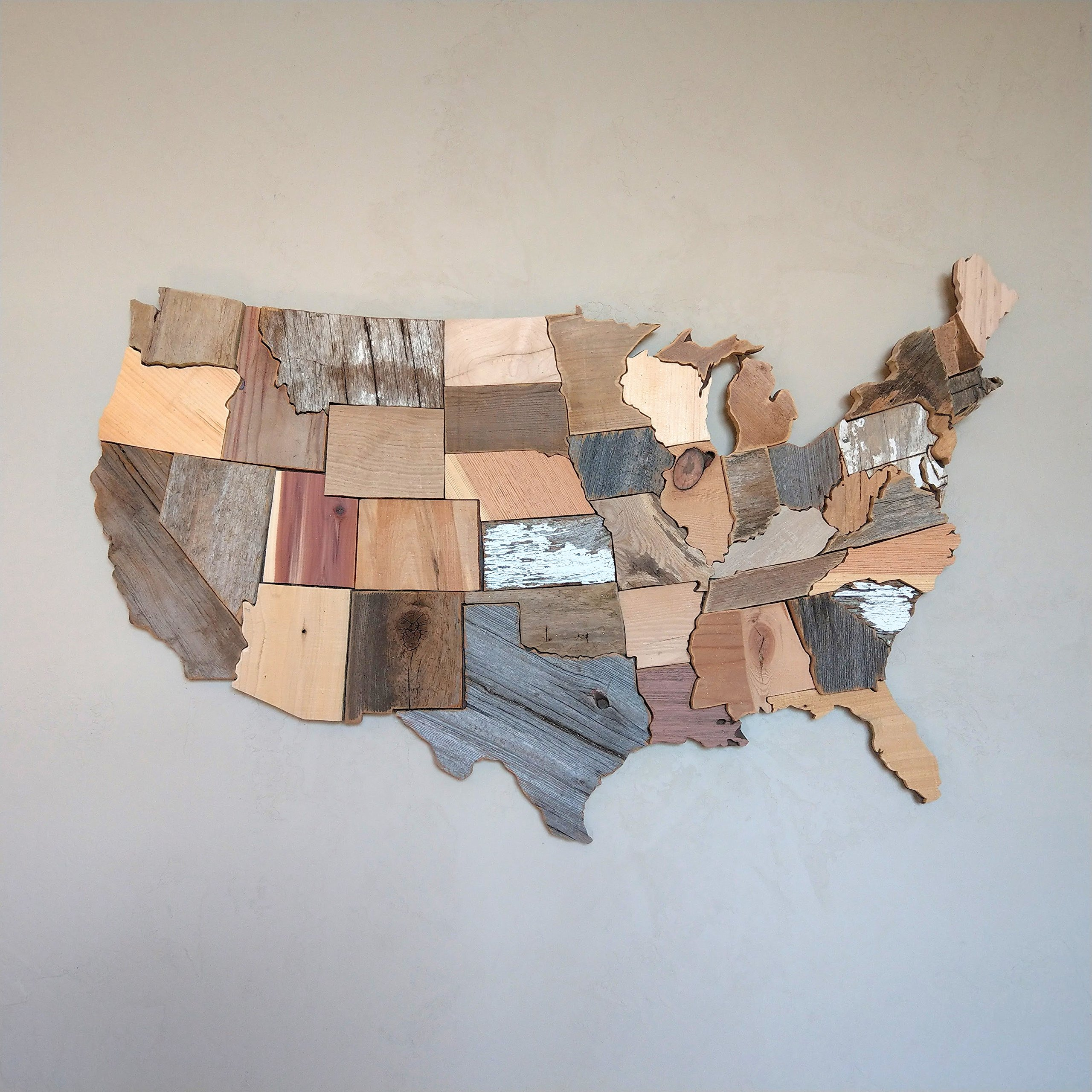 35x22 inch US Map Reclaimed Wood Wall Decor
