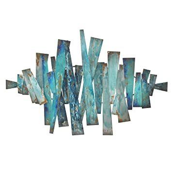 Beau Three Hands Corporation 82137 Abstract Metal Slats Wall Décor, Blue