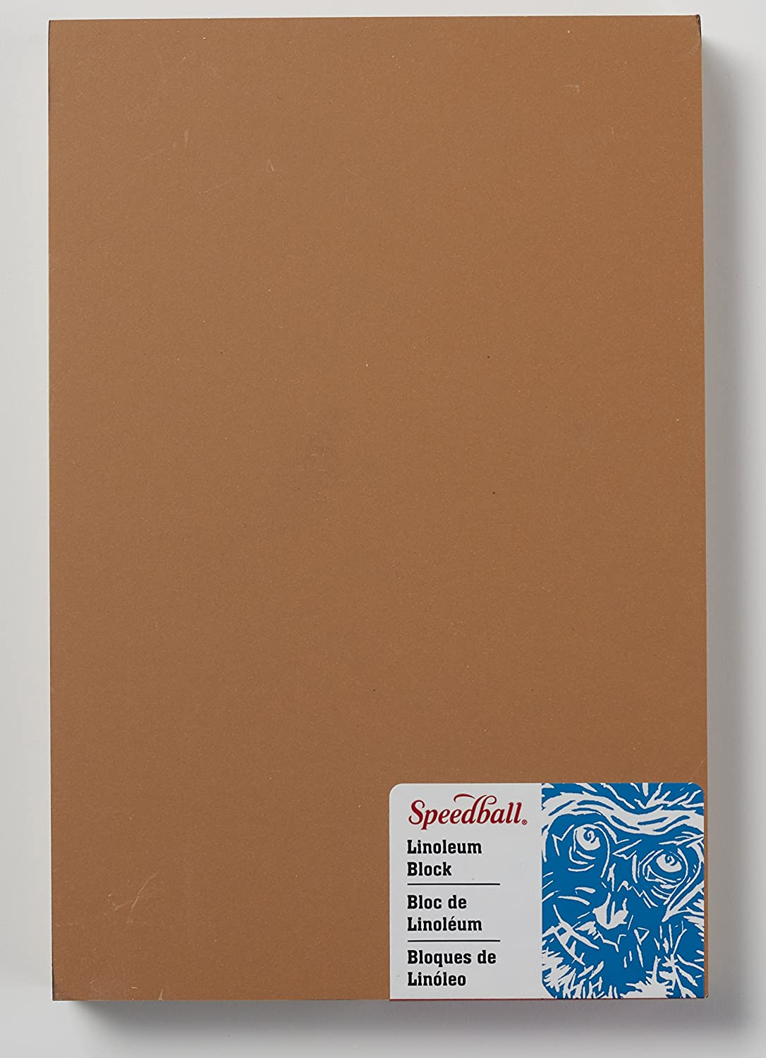 Smoky Tan 5 x 7 Inches Speedball 4309 Premium Mounted Linoleum Block Fine Flat Surface for Easy Carving