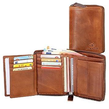 c046055a46268 ALMADIH ® Premium Leder Portemonnaie hochformat mit Reißverschluss 17  Kartenfächer in Geschenkbox (P2H-RV