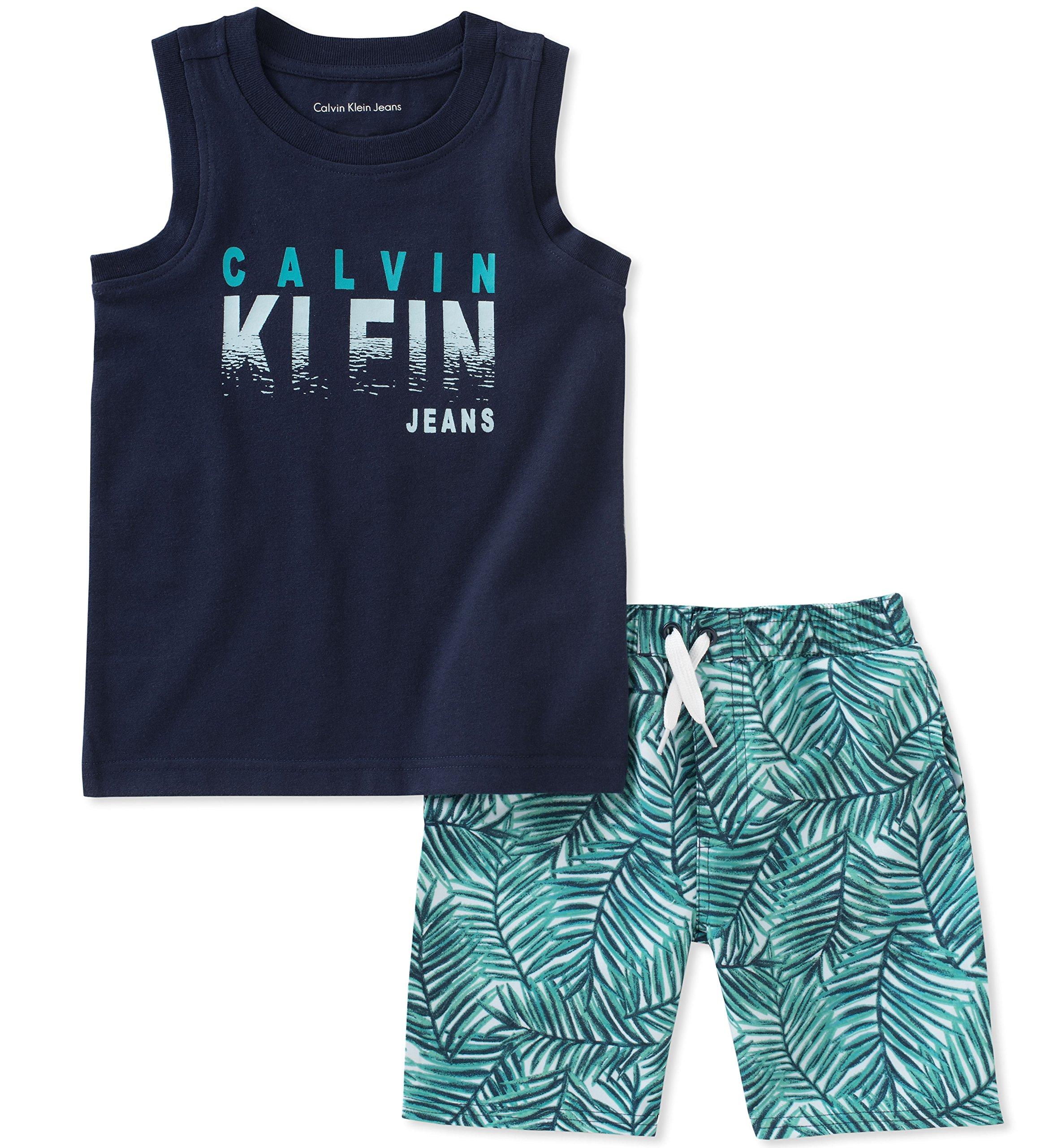 Calvin Klein Boys' Big 2 Pieces Muscle Top Shorts Set, Navy/Green, 10