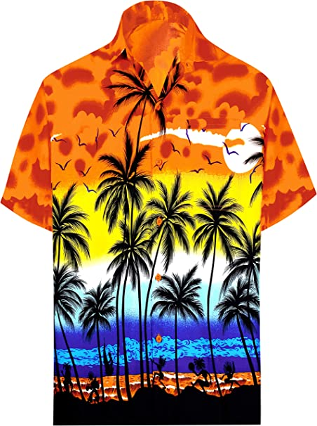 Beloved Mens Beach Wear Floral Printed Large Size Stretchy Casual Short Sleeve Fashional T Shirt Photo Color XXS