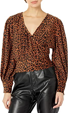 KENDALL + KYLIE Women's Wrap Top with Balloon Sleeve