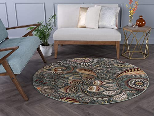 Tayse Giselle Seafoam 8 Foot Round Area Rug for Living, Bedroom, or Dining Room – Contemporary, Abstract
