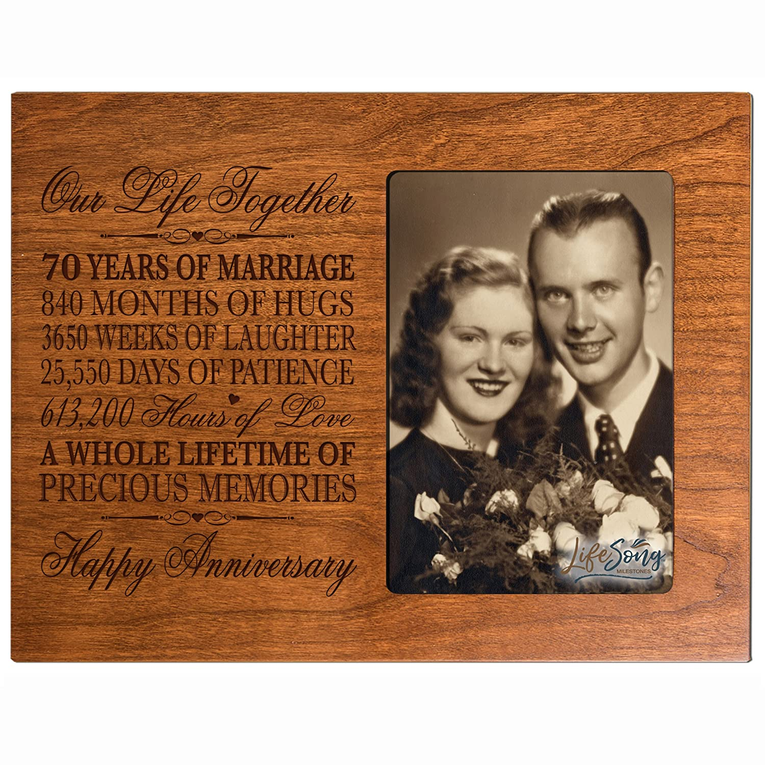 70th Anniversary Gifts for Her Him 70 year Wedding Anniversary gift for couple Parents Celebration Gift picture Frame Holds 1 4x6 Photo 8