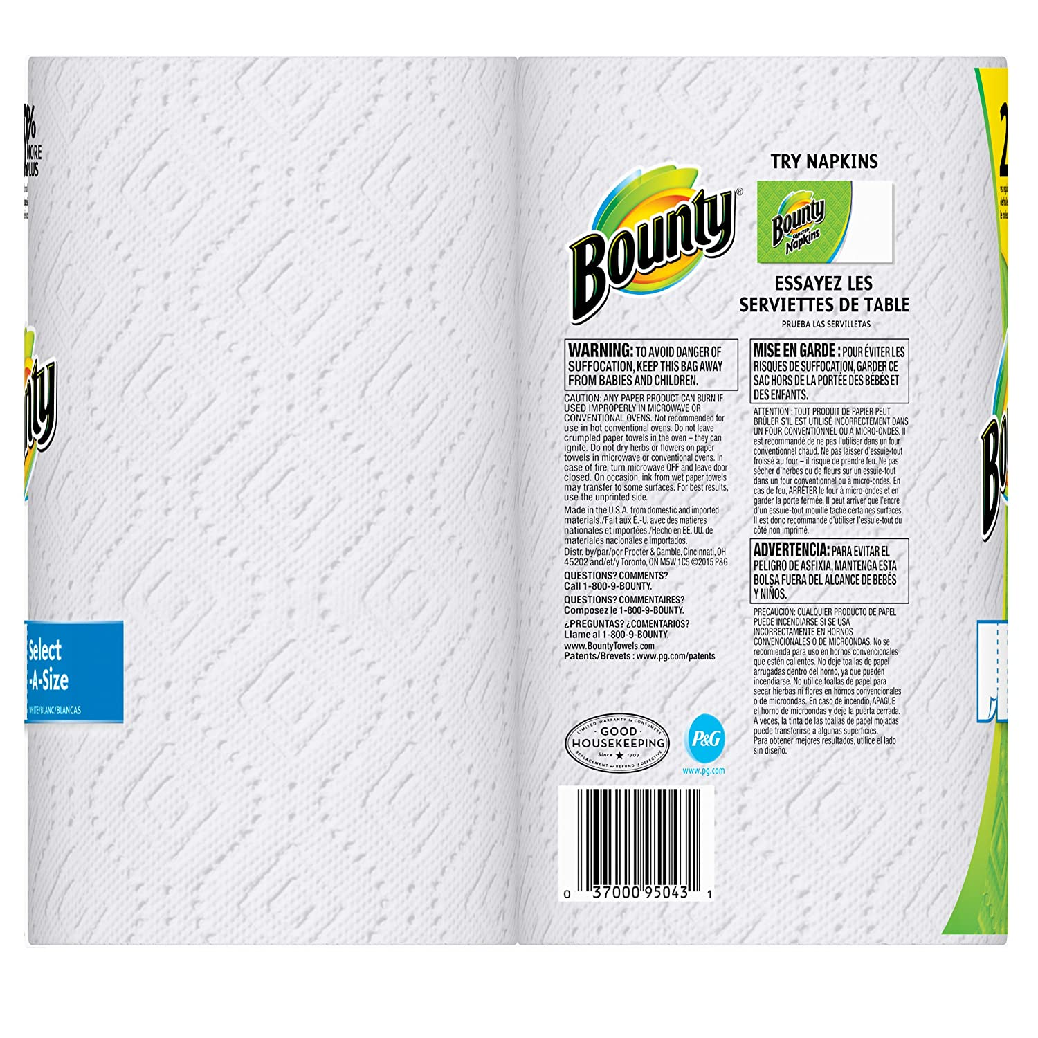 Amazon.com: Bounty Paper Towels, Select-a-Size, White, 2 Count: Health & Personal Care