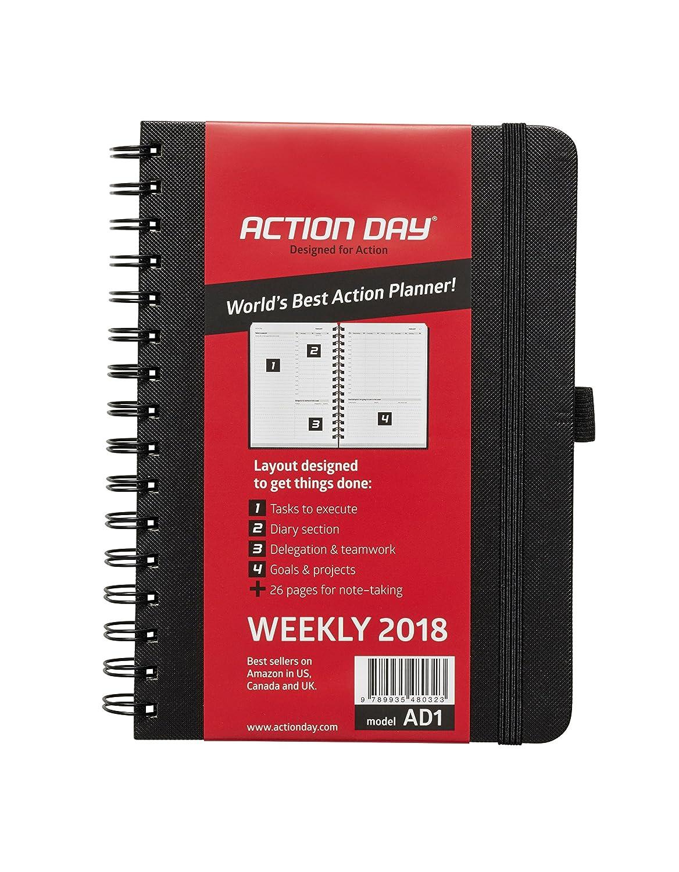 Action Day Agenda 2018, mise en page Action pour pouvoir vous organiser, calendrier journalier / hebdomadaire / mensuel / annuel, reliure à spirales 6x8 Inch - Black noir