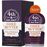 California Garlic Grass-Fed Ghee Butter by 4th & Heart, On-the-Go Single Serving 5-Count, Pasture Raised, Non-GMO, Lactose Free, Certified Paleo