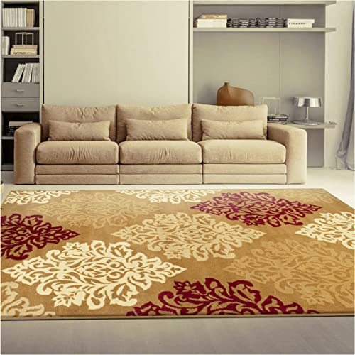 Superior Danvers Collection Area Rug, Modern Elegant Damask Pattern, 10mm Pile Height with Jute Backing, Affordable Contemporary Rugs – Brown, 5 x 8 Rug