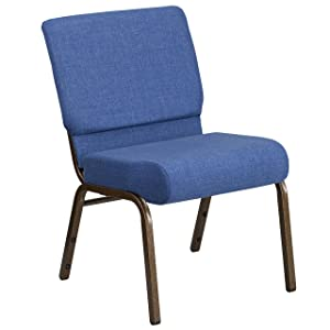 Flash Furniture HERCULES Series 21''W Stacking Church Chair in Blue Fabric - Gold Vein Frame