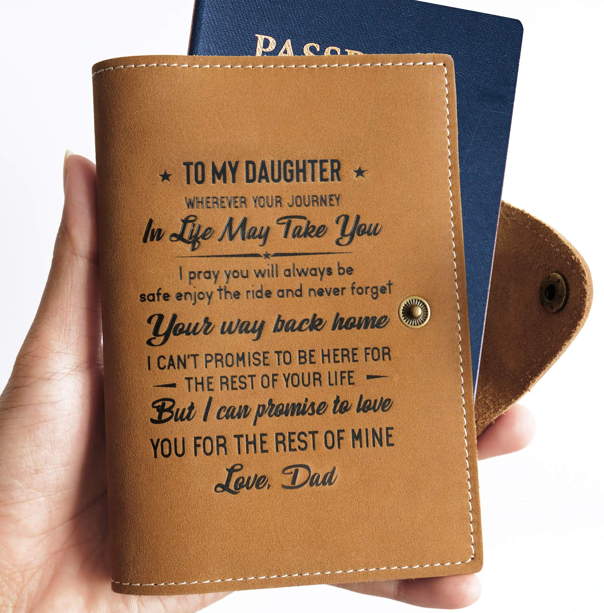 Memory Passport Holder Cover Wallet Real Leather gift for daughter from Dad (To My Daughter - Love Dad)